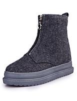 Chaussures Femme - Extérieure - Noir / Gris - Talon Plat - Confort - Bottes - Similicuir