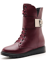 Women's Shoes Leather Flat Heel Combat Boots Boots Party & Evening / Dress / Casual Black / Burgundy