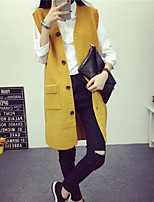 Women's Solid Red / Black / Yellow Cardigan , Casual Sleeveless