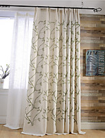 (Two Panels)Modern Vine Embroidered Linen/Cotton Blend Energy Saving Curtain(Sheer Not Included)