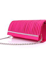 Women Satin Minaudiere Clutch / Evening Bag - White / Pink
