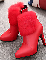 Women's Shoes Stiletto Heel Pointed Toe Boots Casual Black / Red