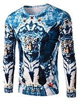 Men's Fashion Tiger 3D Printed Casual Long-Sleeve T-Shirt