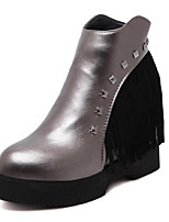 Women's Shoes  Wedge Heel Bootie / Round Toe Boots Outdoor / Casual Black / Silver / Animal Print