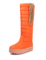 Women's Shoes Leatherette Platform Snow Boots / Round Toe Boots Outdoor / Casual Black / Brown / Orange