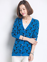 Women's Polka Dot / Color Block Blue / Red / White Cardigan , Casual / Work Long Sleeve