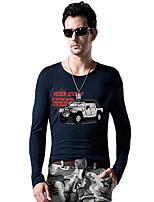 Katoen / Spandex - Print - Heren - T-shirt - Informeel / Sport / Grote maten - Lange mouw