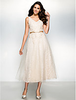 Cocktail Party Dress - Champagne A-line V-neck Tea-length Lace / Tulle