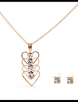 Delicate Gold Chain Love Heart Pendant Necklace with Stud Earrings Women's Jewelry set