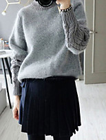 Women's Patchwork Gray Pullover , Casual Long Sleeve