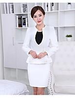 Women's Solid White / Black / Orange Blazer , Work Deep V Long Sleeve