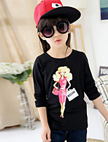 Girl's Vogue  Cotton Blend Fall/Spring  Round Cartoon Characters Pattern Tee