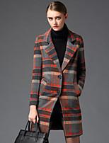 Damen Mantel  -  Retro / Leger / Übergröße Langarm Wolle / Polyester