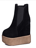 Chaussures Femme - Décontracté - Noir - Talon Compensé - Bout Arrondi - Bottes - Similicuir