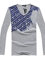 Katoenmix - Print / Effen - Heren - T-shirt - Informeel - Lange mouw