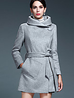 Women's Solid Beige  Gray Coat  Vintage  Casual Long Sleeve Others