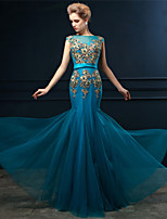 Formal Evening Dress - Ocean Blue Trumpet/Mermaid Bateau Floor-length Tulle