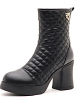 Women's Shoes Leatherette Chunky Heel Fashion Boots / Combat Boots Boots Office & Career / Casual Black / Blue