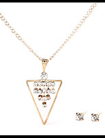 Lovely Delicate Gold Chain Crystal Necklace Triangle Pendant with Stud Earrings Women's Jewelry set