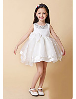 Girl's Sleeveless Round Collar Stick Drill Bow Layered Princess Dress for Wedding Party (Cotton)