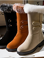 Women's Shoes Leatherette Chunky Heel Round Toe Boots Casual Black / Yellow / Beige