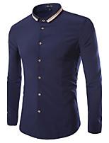 Men's Long Sleeve Shirt , Cotton Blend Casual Pure