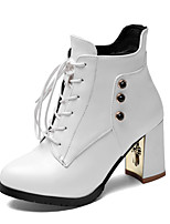 Women's Shoes Leatherette Chunky Heel  / Round Toe Boots Outdoor / Office & Career / Casual Black / Yellow / White