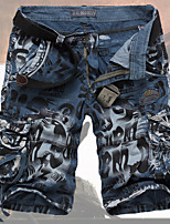 Men's Shorts , Plus Sizes Print Cotton Blend X004