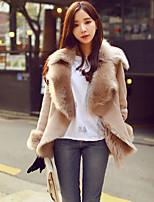 Women's Solid Beige / Gray Coat , Casual Long Sleeve Suede