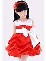 Girl's Red Dress , Bow Cotton Blend Summer / Spring / Fall
