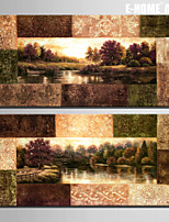 E-HOME® Stretched Canvas Art Scenery of The River Decoration Painting  Set of 2