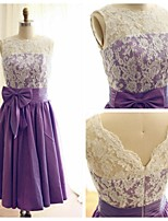 Tea -length Lace Taffeta Bridesmaid Dress - Purple A-line Boat Neckline