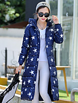 Women's Print / Solid Blue / Black Parka Coat , Casual Hooded Long Sleeve