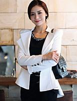 Women's Solid White / Black Blazer , Work Shirt Collar Long Sleeve