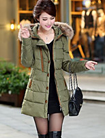 Women's Solid Red / Black / Brown / Green Down Coat , Casual / Plus Sizes Hooded Long Sleeve