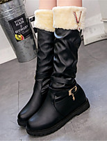 Women's Shoes Low Heel Fashion Boots / Round Toe Boots Dress / Casual Black / White