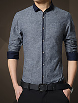 Young men long sleeve shirt in the fall and winter of pure color cultivate one's morality leisure cotton shirt