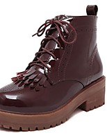 Women's Shoes Patent Leather Chunky Heel Combat Boots / Round Toe Boots Outdoor / Casual Black / Burgundy