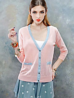 Women's Patchwork / Color Block Pink / White / Green Cardigan , Casual Long Sleeve