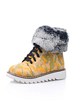 Women's Shoes Leatherette Flat Heel Snow Boots Boots Casual Black / Blue / Yellow / Pink