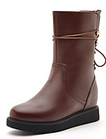 Women's Shoes Leatherette Flat Heel Fashion Boots / Combat Boots Boots Office & Career / Casual Black / Brown