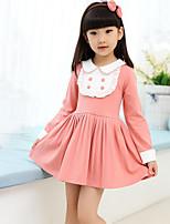 Girl's Blue / Pink / Red Dress , Ruffle Rayon Winter / Fall