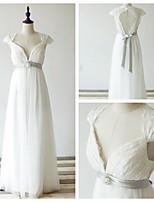 웨딩 드레스 - 아이보리(색상은 모니터에 따라 다를 수 있음) A 라인 바닥 길이 퀸 앤 레이스 / 튤