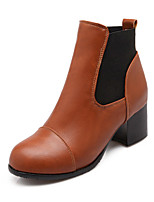 Women's Shoes Leatherette Chunky Heel Round Toe Boots Casual Black / Yellow / Red