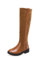 Women's Shoes Leatherette Low Heel Fashion Boots Boots Casual Black / Brown