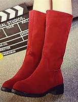 Women's Shoes Chunky Heel Round Toe Boots Casual Brown / Red / Gray