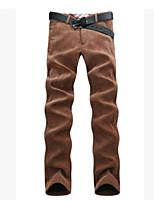 Men's European Style Corduroy Plus Velvet Thicken Outdoor Casual Straight Striped Slim Pants