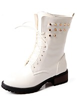 Women's Shoes Chunky Heel Fashion Boots / Comfort Boots Wedding / Outdoor / Dress / Casual Black / Pink / White