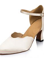 Women's Modern Silk Sandal Performance Buckle Cuban Heel Beige 2
