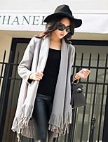 Women's Solid Red / Gray Coat , Casual Long Sleeve Tweed